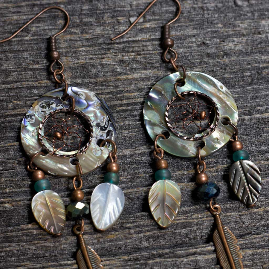 Paua Shell Earrings w/ Copper Dreamcatcher