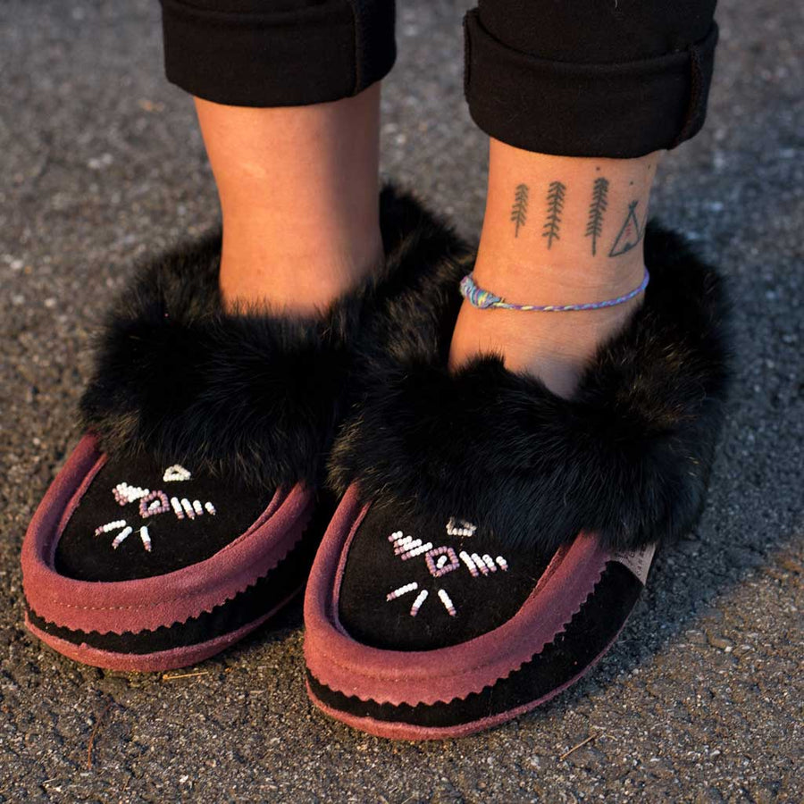 Black & Plum Rabbit Fur Moccasin