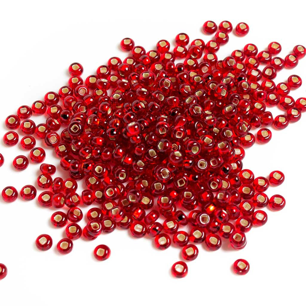 Red Silverlined Pony Beads