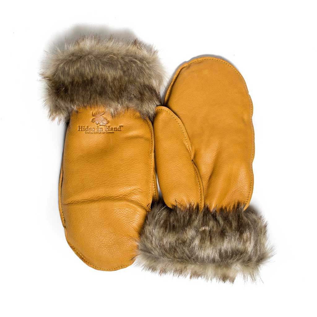 Saddletan Deer Hide Mitt w/ Fur Trim - Beaded Dreams  - 1