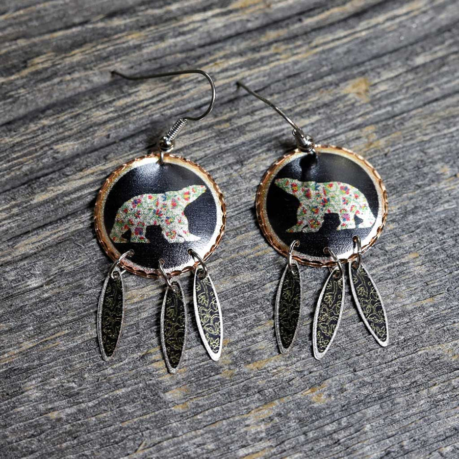 'Spring Bear' Copper Earrings by Dawn Oman