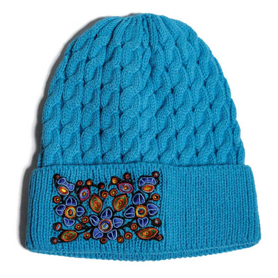 'Flowers & birds' Knitted Toque by Norval Morrisseau