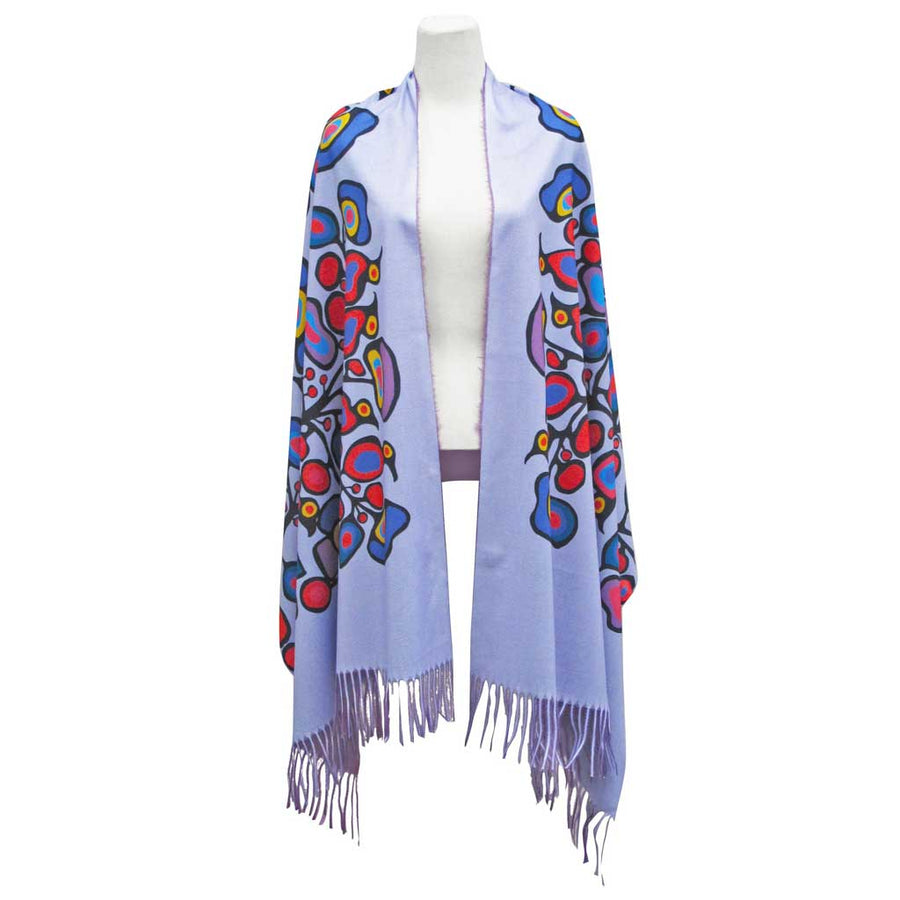 'Woodland Floral' Fringed Shawl by Norval Morrisseau