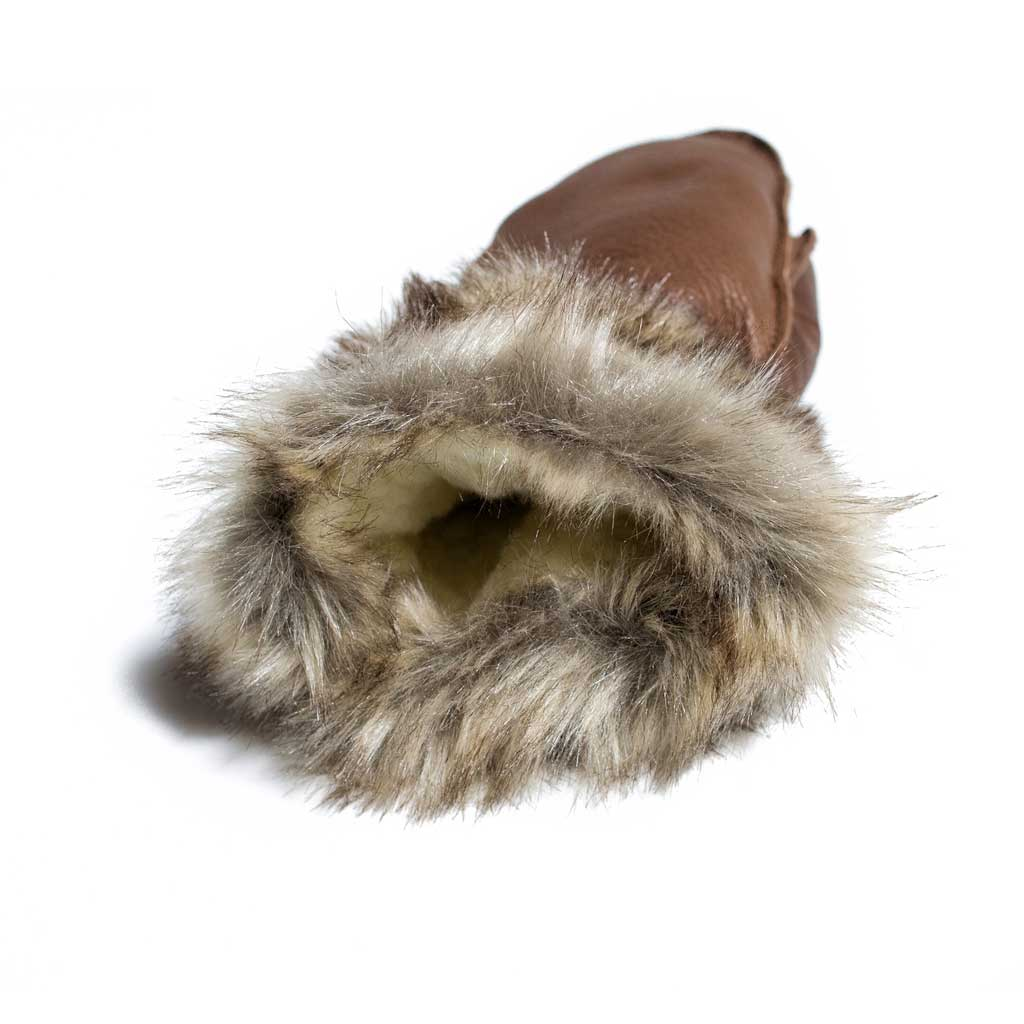 Brown Deer Hide Mitt w/ Fur Trim