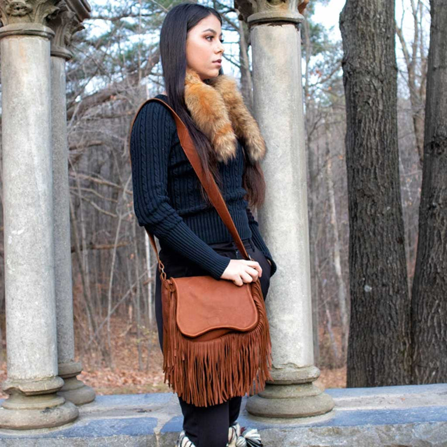 Buffalo Hide Fringed Saddlebag - Brown