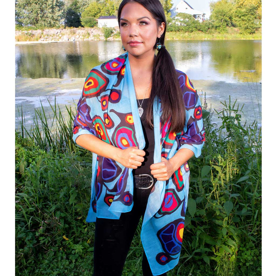 'Flowers & Birds' Shawl by Norval Morrisseau