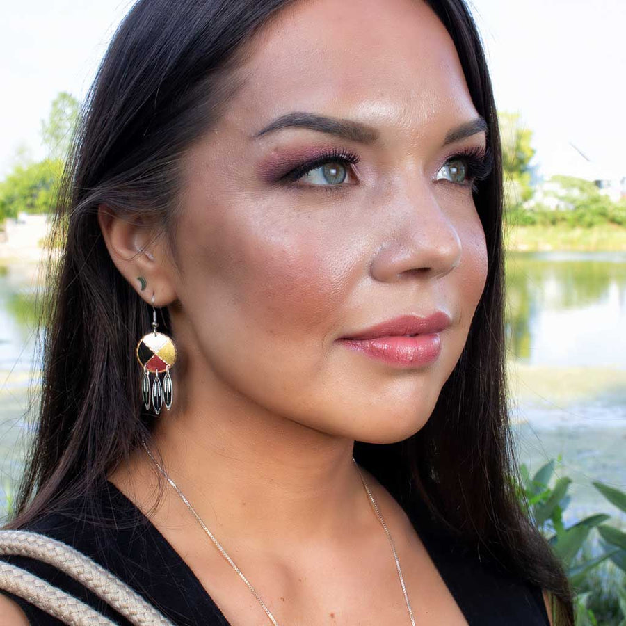 Copper Medicine Wheel Earrings