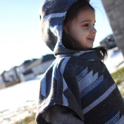 Hooded Baby/Kids Poncho - Charcoal