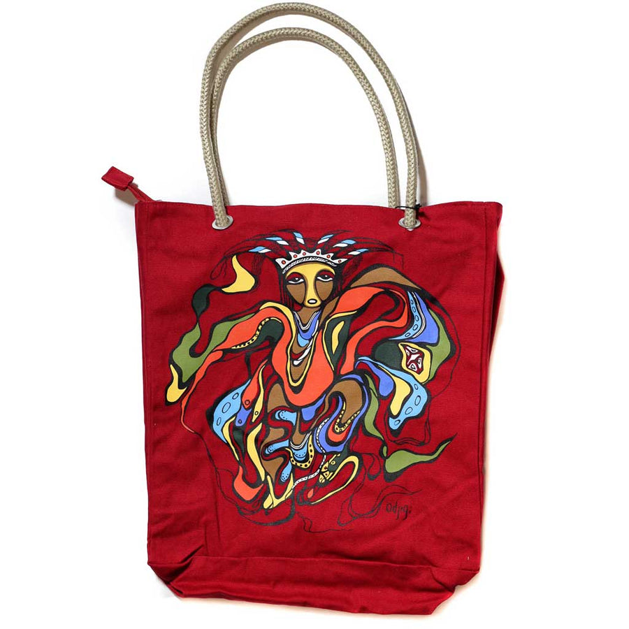 'Pow Wow Dancer' Eco-Cotton Tote by Daphne Odjig