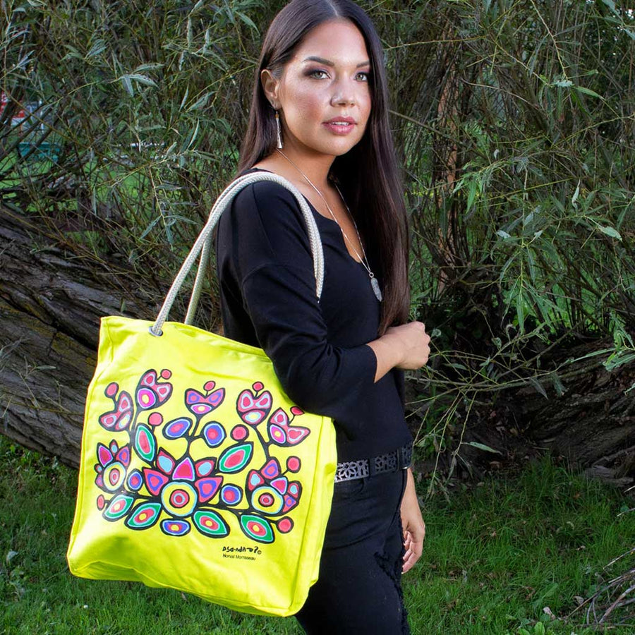 'Floral on Yellow' Eco-Cotton Tote by Norval Morrisseau