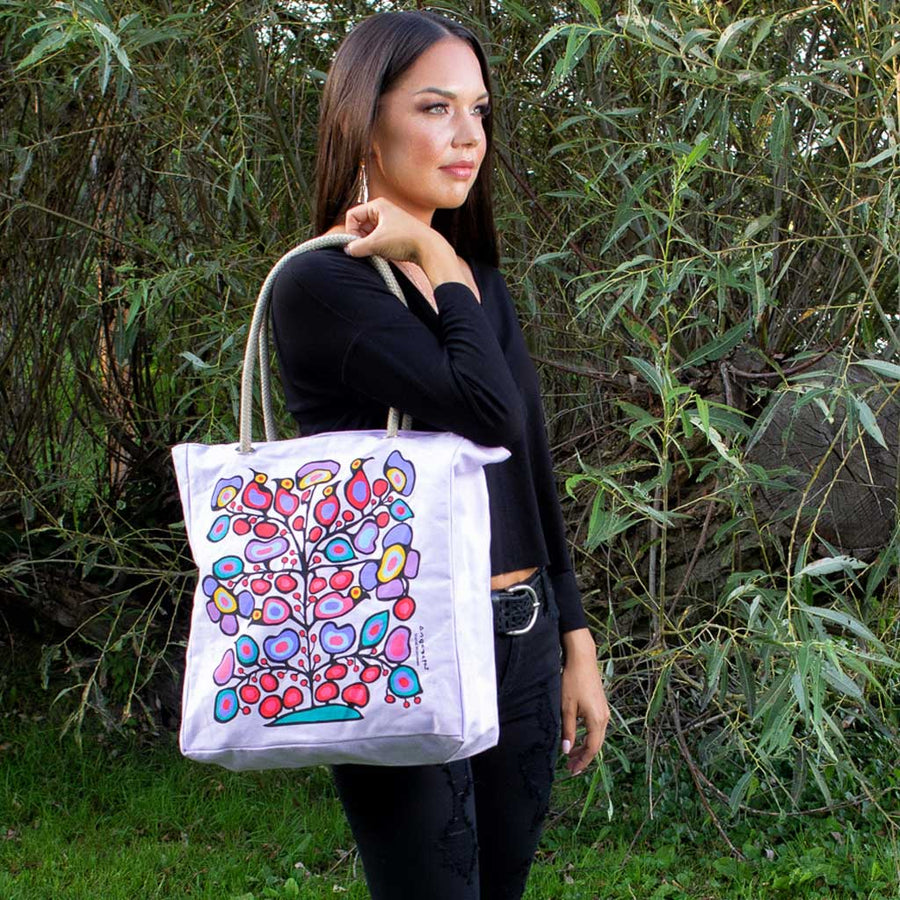 'Woodland Floral' Eco-Cotton Tote by Norval Morrisseau