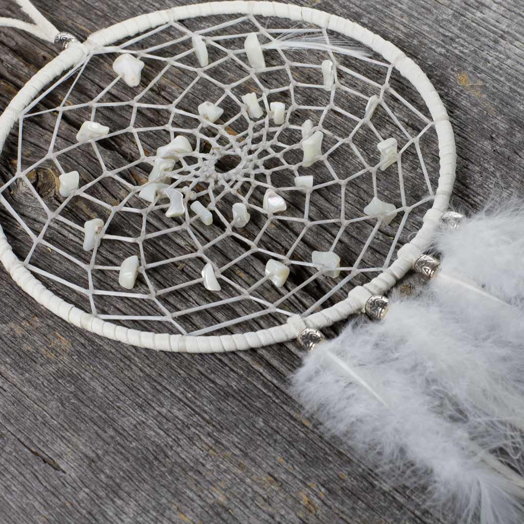 White 'Mother of Pearl' Dreamcatcher - Beaded Dreams  - 1