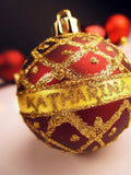 Gold Glittered Christmas Ball Closeup / 100489