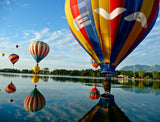 Hot Air Balloons Over Lake / 100498