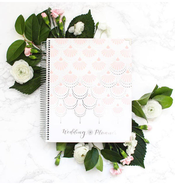 Silver Scallops Hardcover Wedding Planner Undated Among White Roses