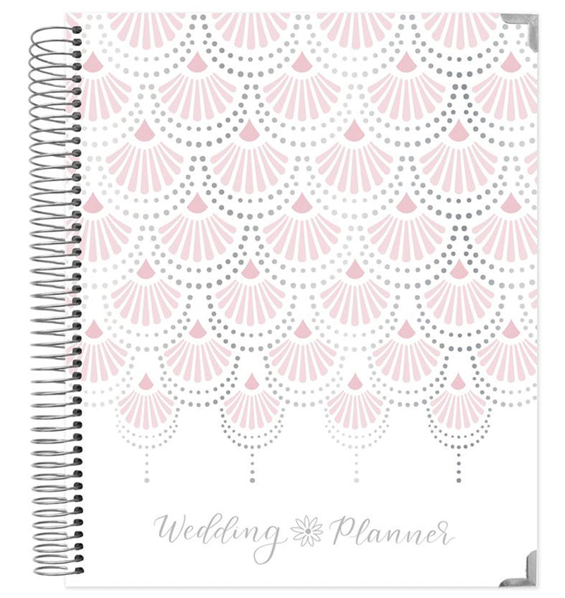 Bloom Silver Scallops Hardcover Wedding Planner Undated Front Cover Design at Craftforher