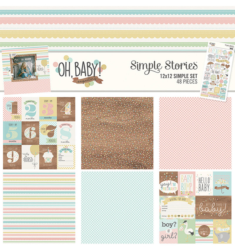 "Simple Stories Oh, Baby! Expecting Collection Kit Includes 12"" x 12"" Cardstock Paper and Sticker Sheet Front Cover Design at Craftforher"