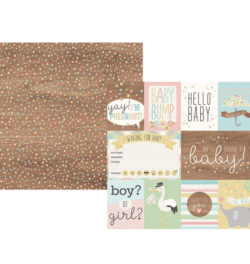 "Simple Stories Oh, Baby! Expecting Collection Kit 3"" x 4"" Element Double-Sided Cardstock Paper"