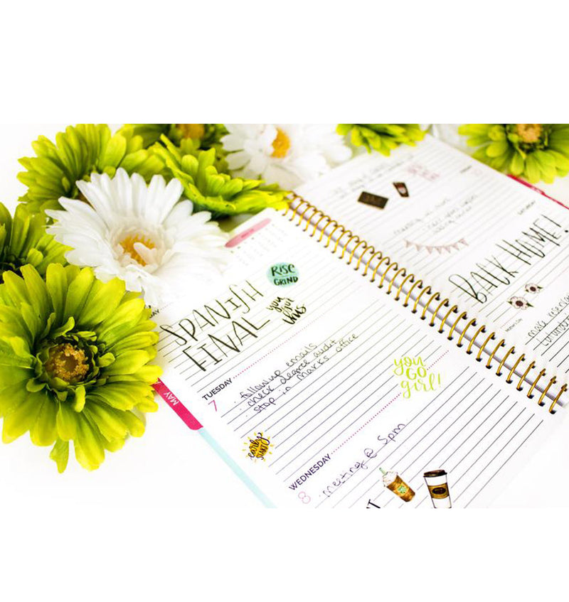 Bloom's The Best Is Yet To Come 2019 Soft Cover Daily Planner Weekly View Pages with Monthly Tabs at the Side