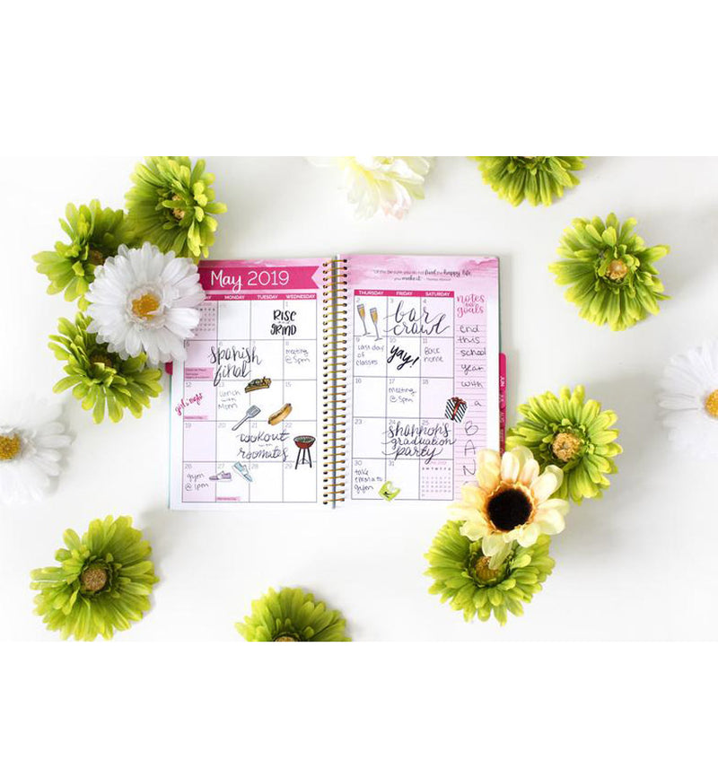 Bloom's The Best Is Yet To Come 2019 Soft Cover Daily Planner Monthly View Pages with Planner Stickers