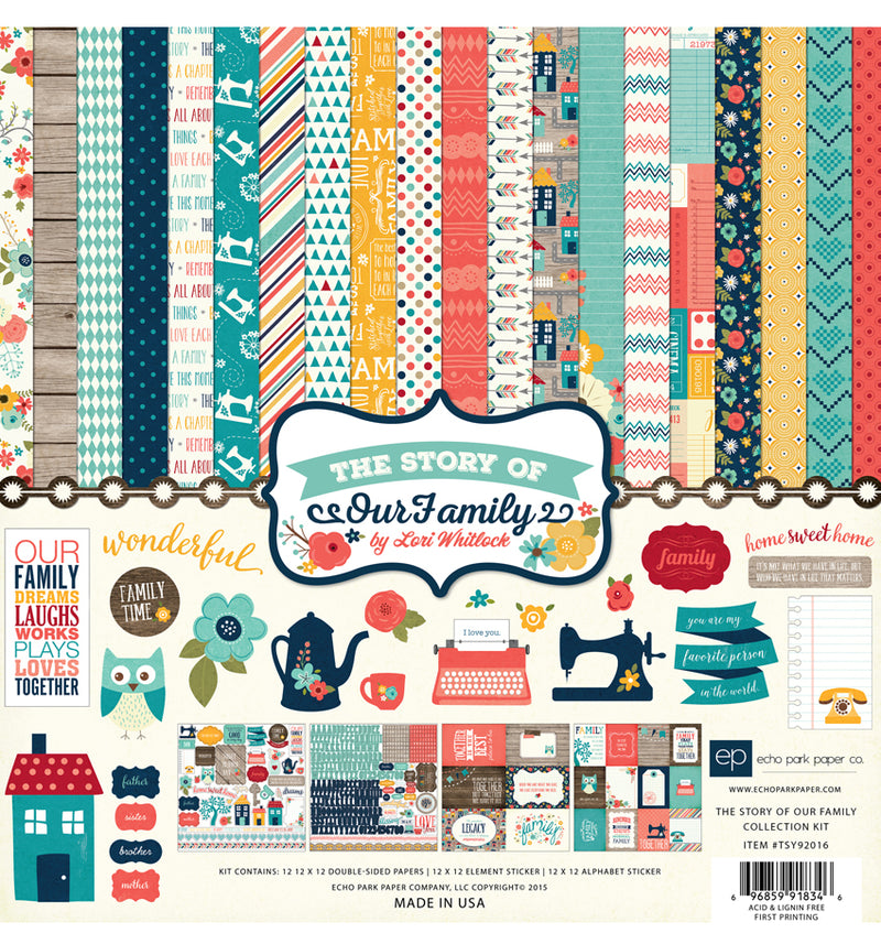 "Echo Park The Story of Our Family Collection Kit, Includes 12"" x 12"" Cardstock Paper and Sticker Sheet at Craftforher"