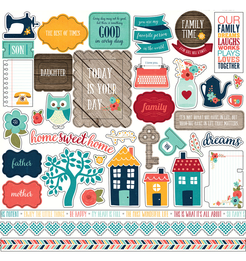 "Echo Park The Story of Our Family Collection Kit Element Sticker Sheet 12"" x 12"""