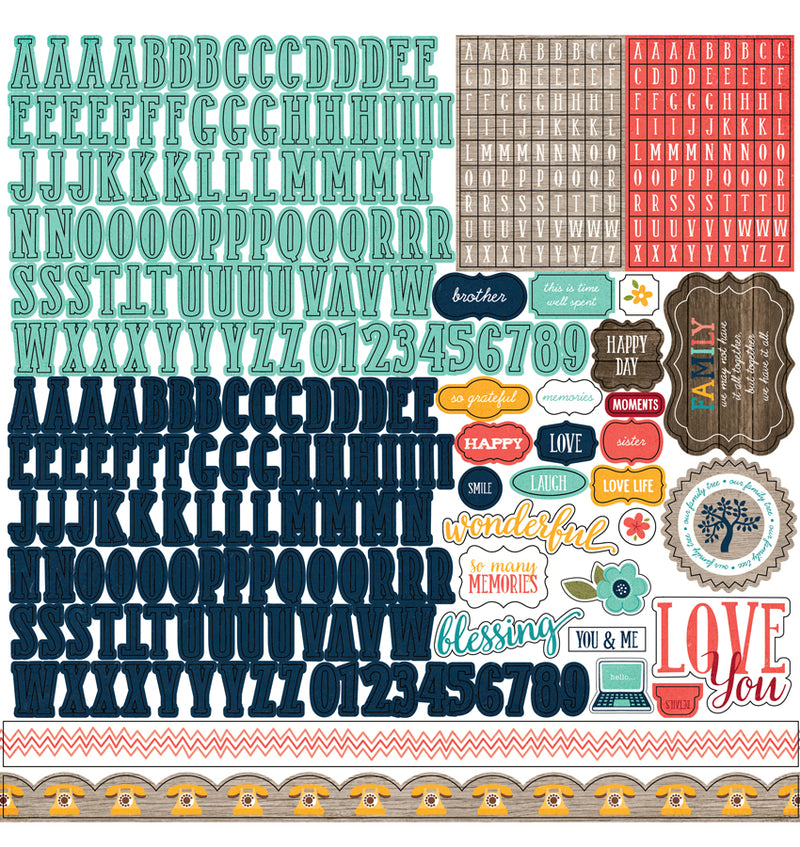 "Echo Park The Story of Our Family Collection Kit Alphabet Sticker Sheet 12"" x 12"""