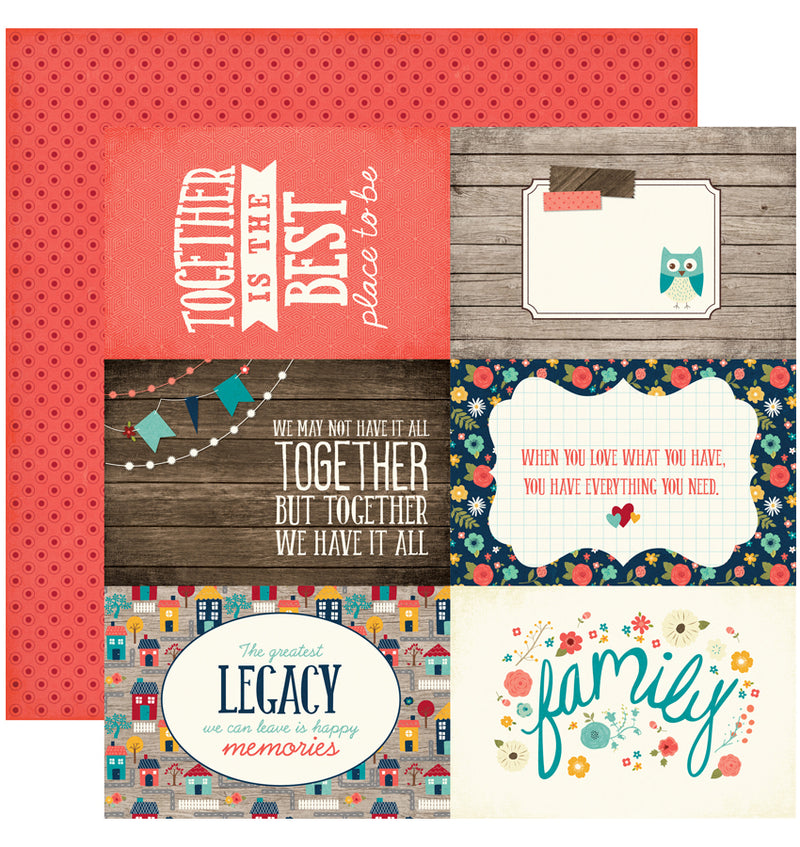 "Echo Park The Story of Our Family Collection Kit, 4"" x 6"" Journaling Cards Cardstock Paper 12"" x 12"""