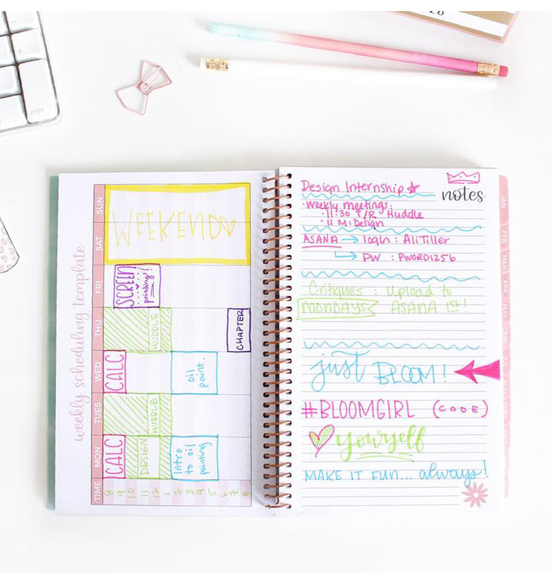 Bloom's Wanderlust 2019 Soft Cover Daily Planner Weekly Scheduling Template and Notes Pages with Text