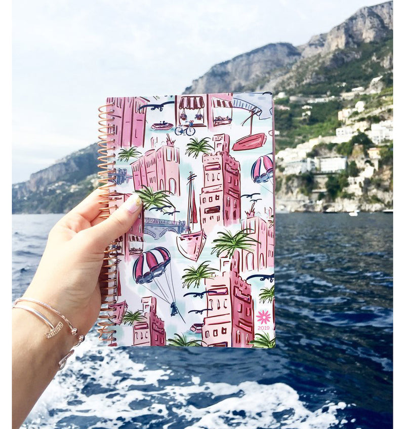 Lady Holding a Lovely Bloom's Wanderlust 2019 Soft Cover Daily Planner