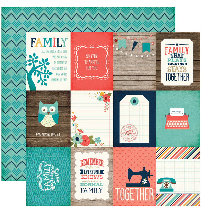 "Echo Park The Story of Our Family Collection Kit, 3"" x 4"" Journaling Cards Cardstock Paper 12"" x 12"""