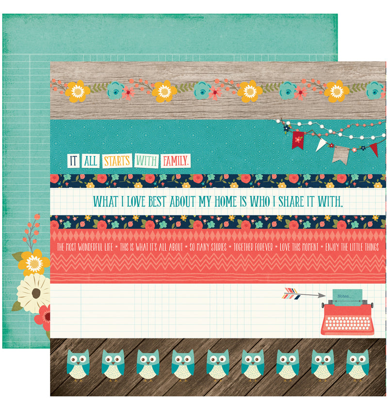 "Echo Park The Story of Our Family Collection Kit, Borders Cardstock Paper 12"" x 12"""