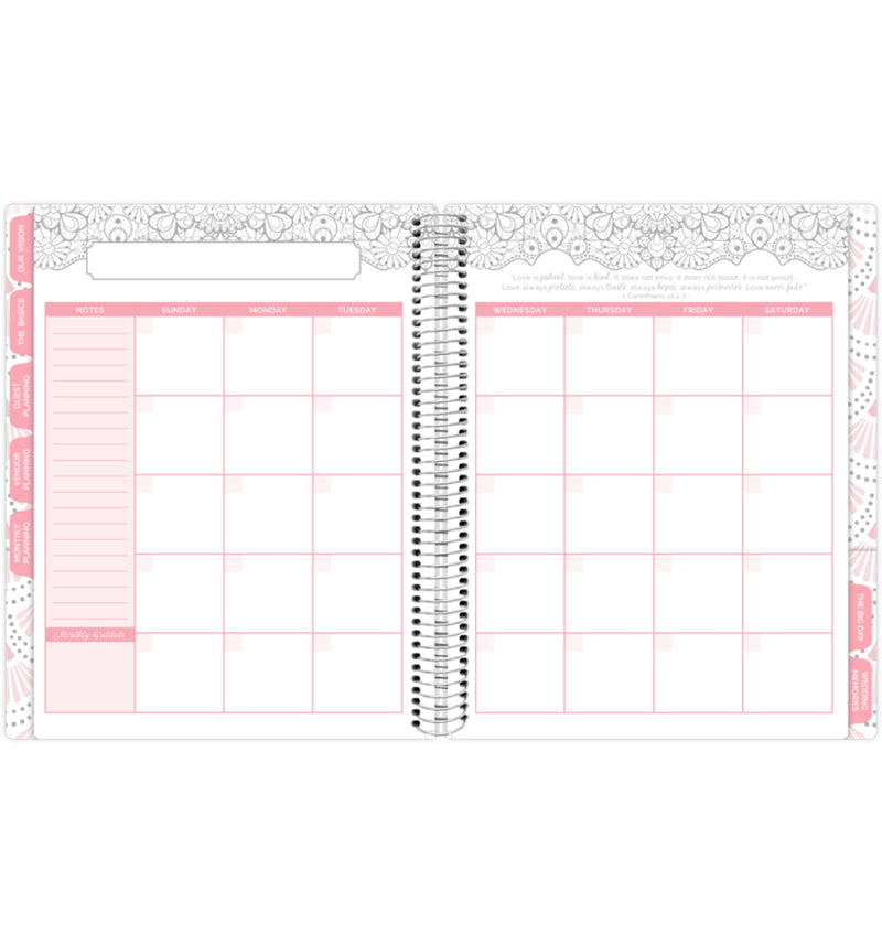 Silver Scallops Hardcover Wedding Planner Undated Monthly Planning View Pages