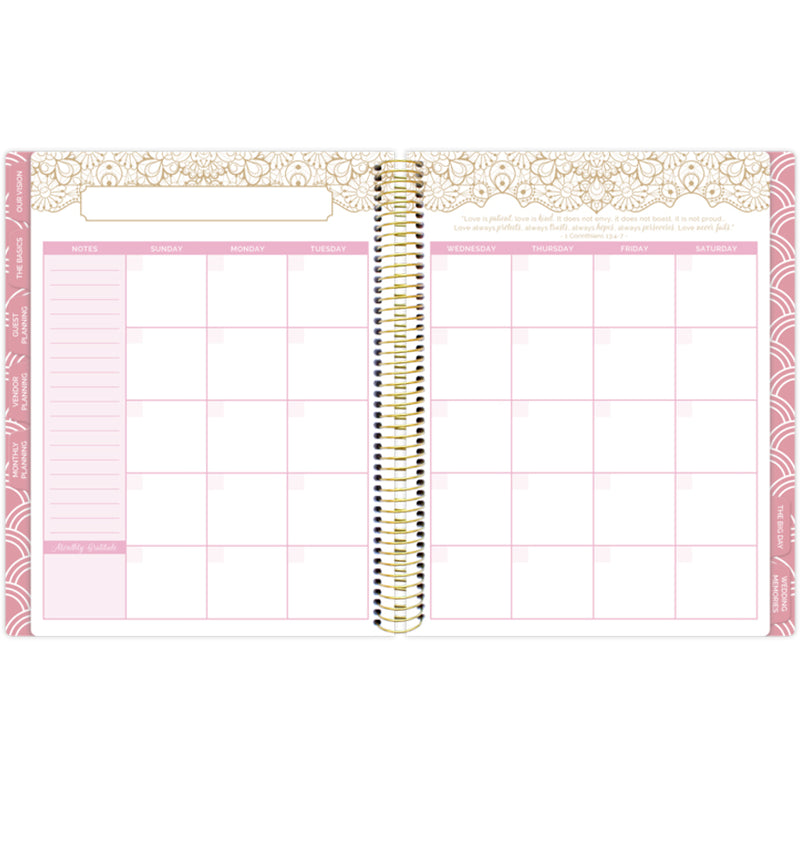 Bloom Gold Scallops Hardcover Wedding Planner Undated Monthly Planning Pages