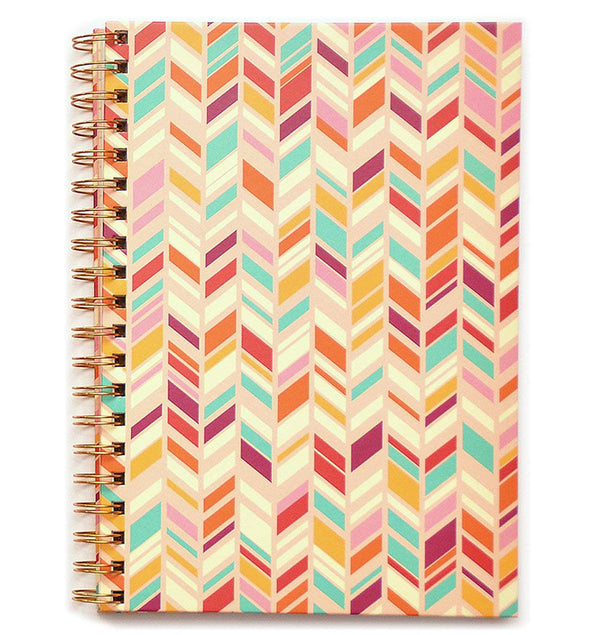 "Herringbone Pink Hardcover Journal (7.5""x10"")"