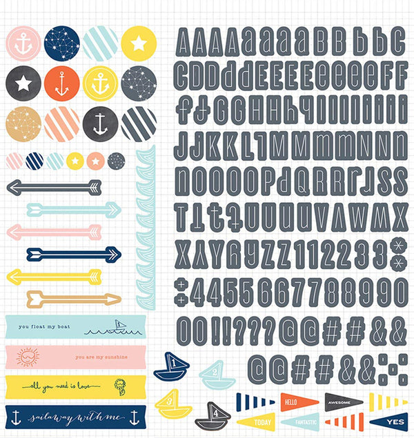 Atlantic Letters, Numbers, Icons and Phrases 12x12 Sticker Sheet
