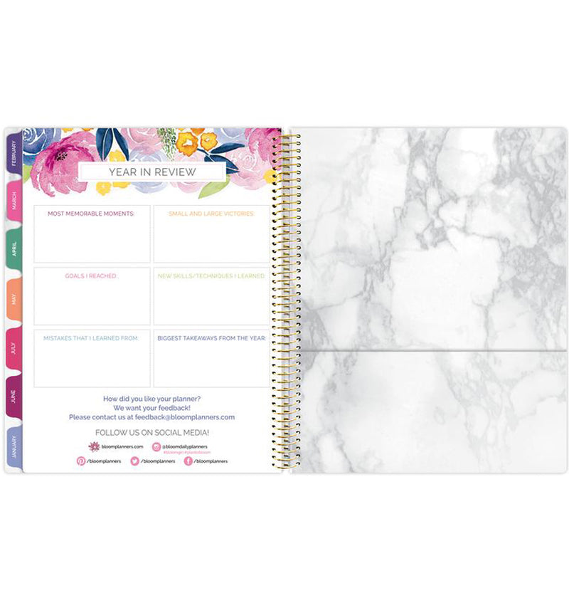 Bloom Marble Teacher Planner Undated Year in Review Page with Back Pocket Sleeve for Storage