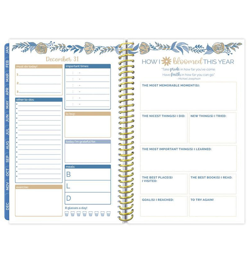 Bloom Blue Floral Daily To Do List Hardcover Planner Undated Summary of The Year