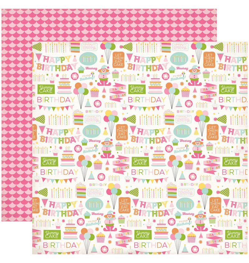 "Echo Park Birthday Wishes Girl Birthday Party Cardstock Paper 12"" x 12"""