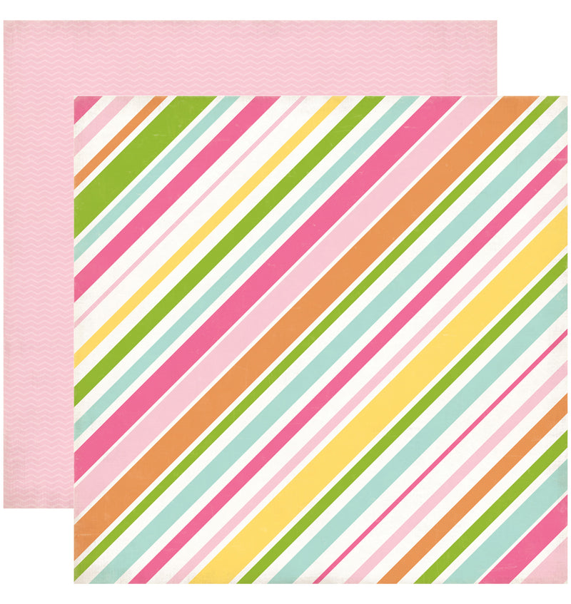 "Echo Park Birthday Wishes Girl Stripes Cardstock Paper 12"" x 12"""