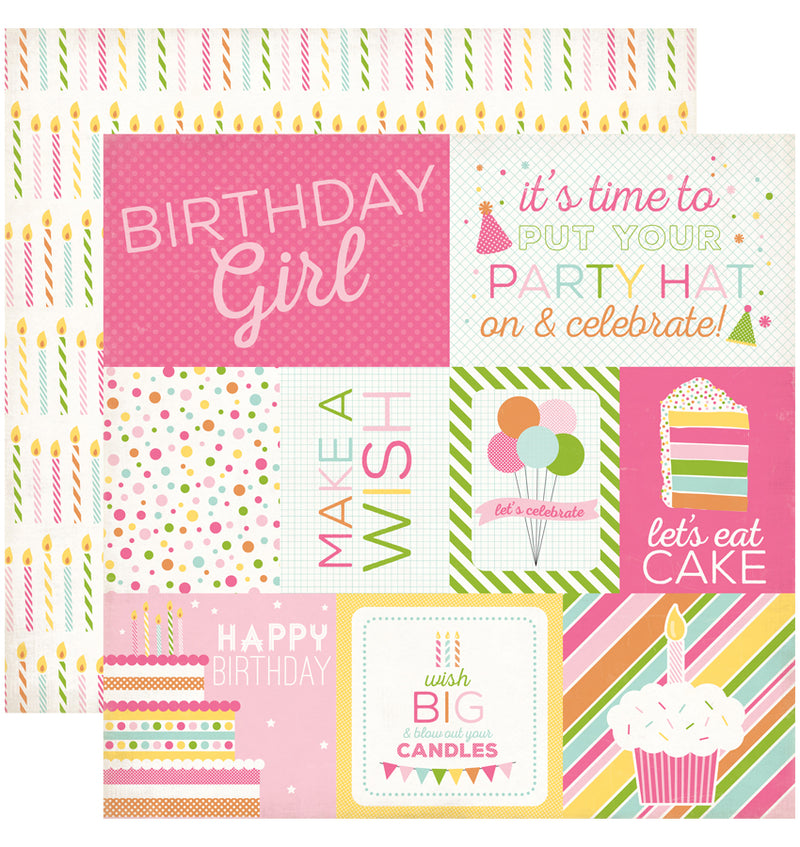 "Echo Park Birthday Wishes Girl Journaling Cards Cardstock Paper 12"" x 12"""