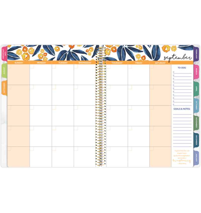 Bloom Marble Teacher Planner Undated Monthly View Pages