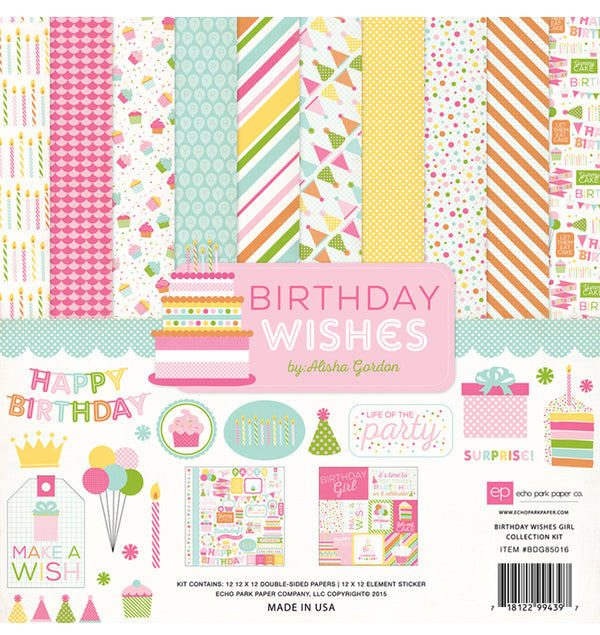 "Echo Park Birthday Wishes Girl Collection Kit, Includes 12"" x 12"" Cardstock Paper and Sticker Sheet at Craftforher"