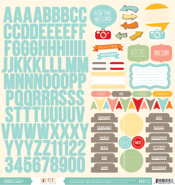Alphabet, Icon & Phrases Cardstock Stickers 143pcs