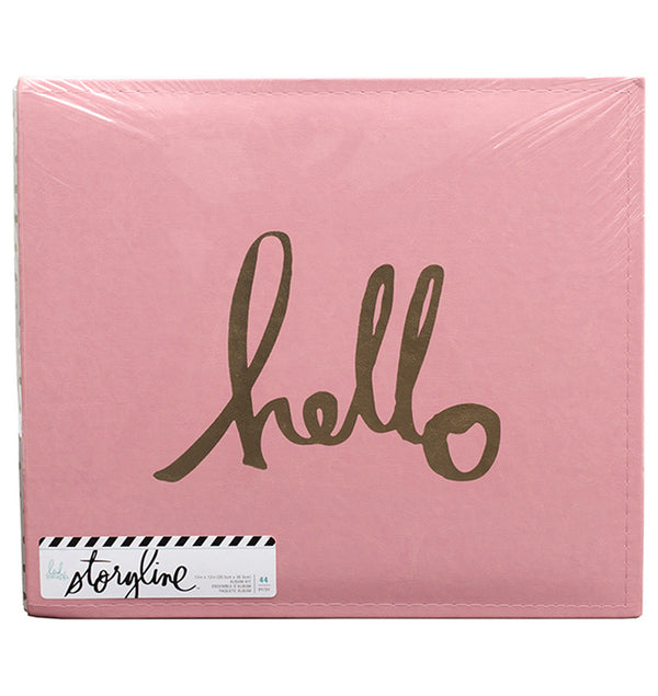 Heidi Swapp 12 x 12 Storyline Pink Hello Gold Album Kit Design