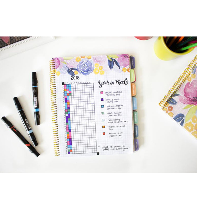 Bloom Marble Teacher Planner Undated Grid Page with Writings and Text