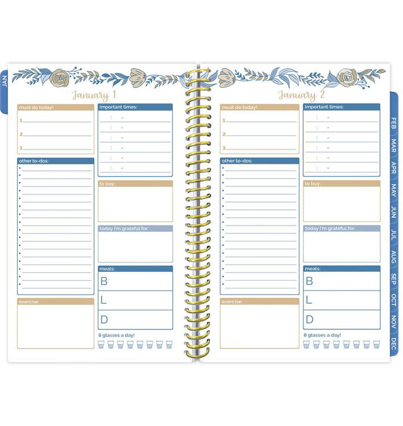 Bloom Blue Floral Daily To Do List Hardcover Planner Undated Daily View Pages