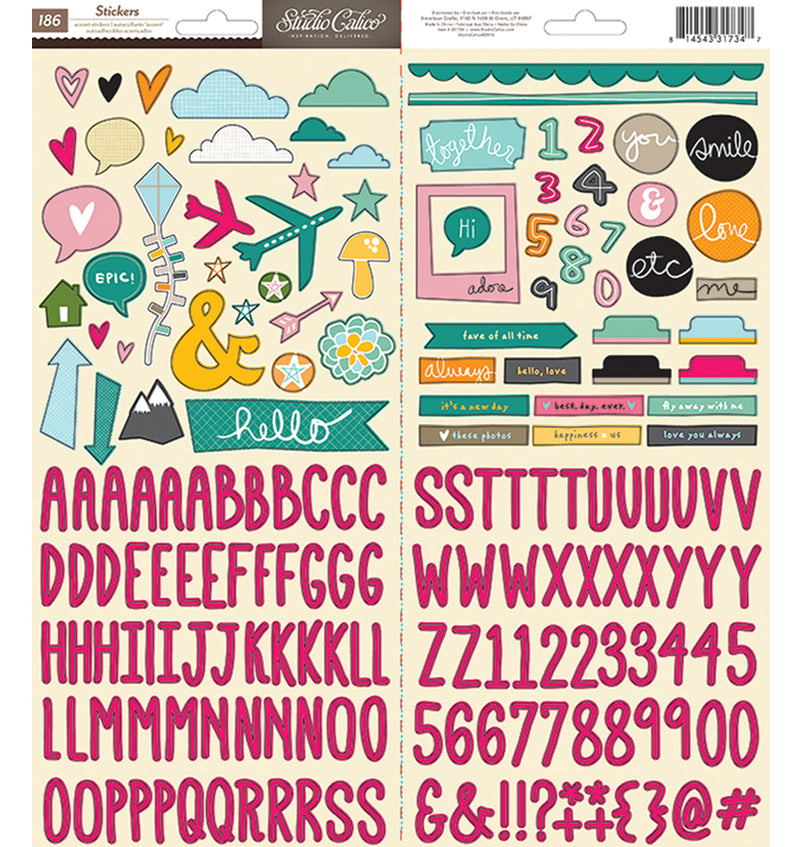 Alphabet & Icon Cardstock Stickers 186pcs
