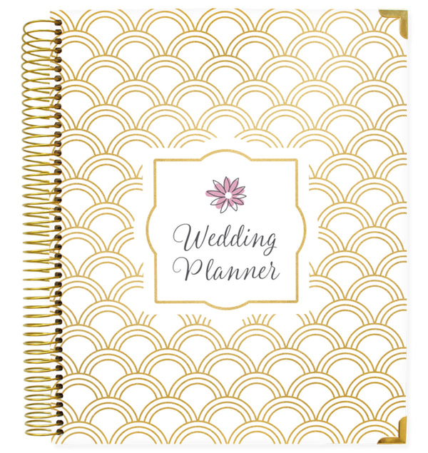 Bloom Gold Scallops Hardcover Wedding Planner Undated Front Cover Design at Craftforher