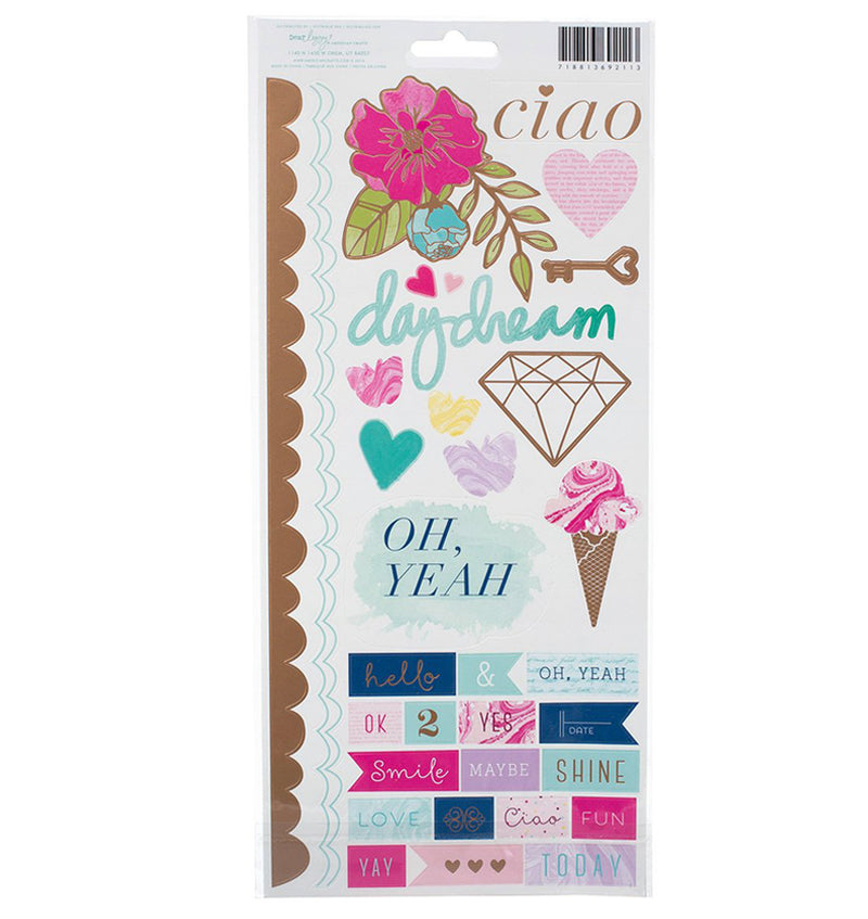 Rose Gold Foil Sticker of Icons & Phrases 54pcs